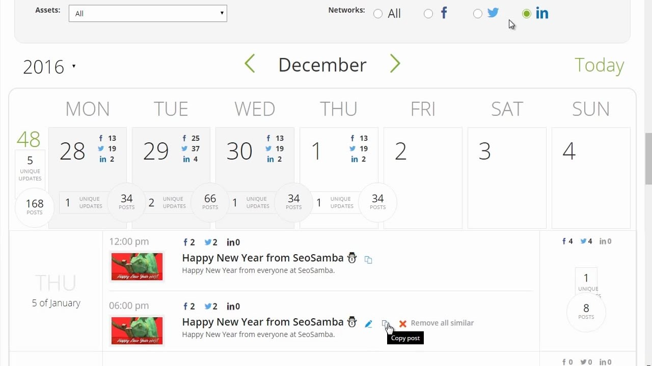 The built-in social calendar includes month, week and day views