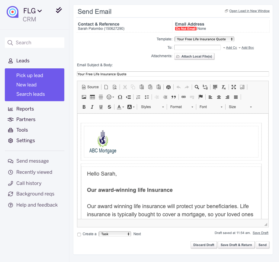 FLG personalised email templates