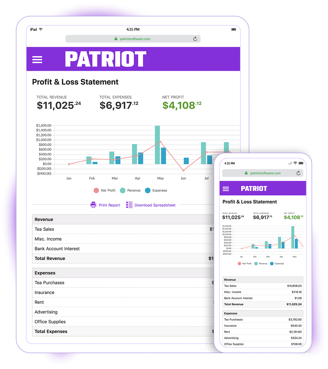 Patriot Accounting Software - Mobile friendly design