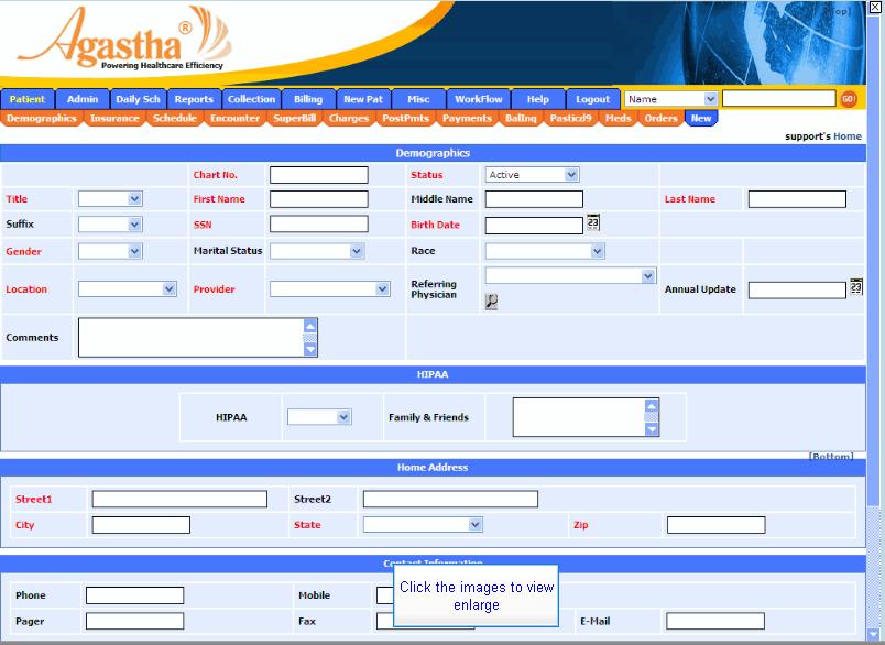Agastha EHR Software - Demographics