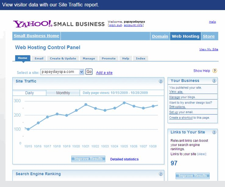 Yahoo Small Business Software - View visitor data with site traffic report