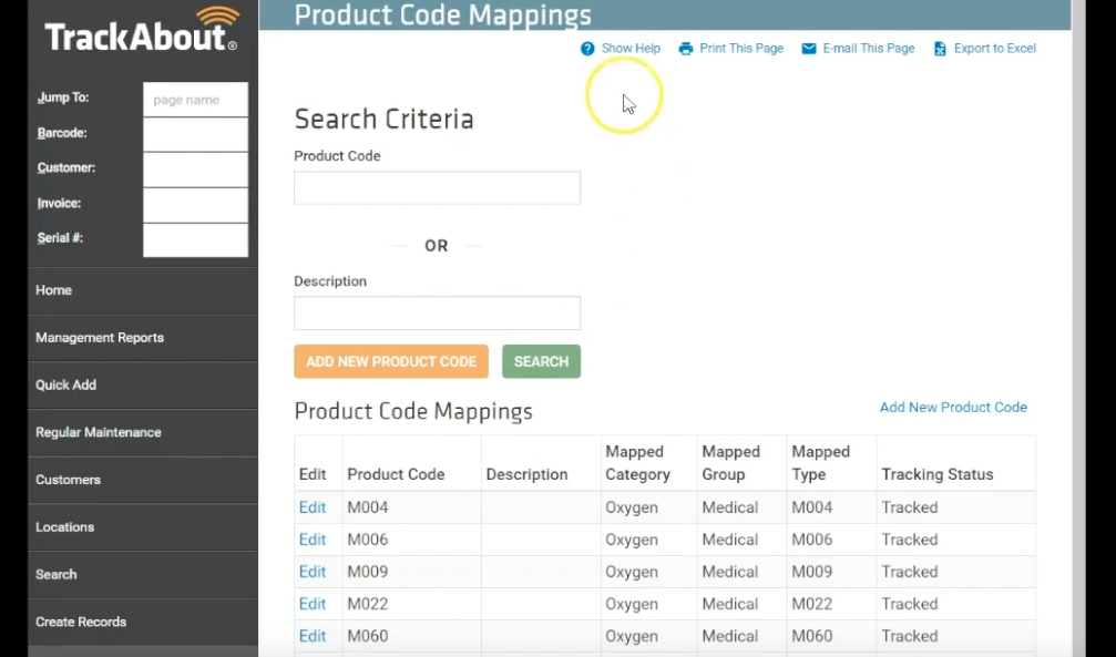 TrackAbout product code mapping