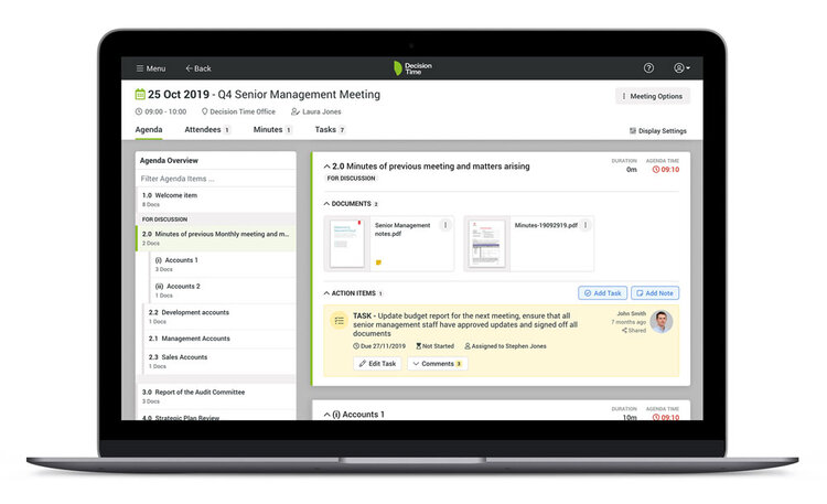 Decision Time Meetings board portal screenshot