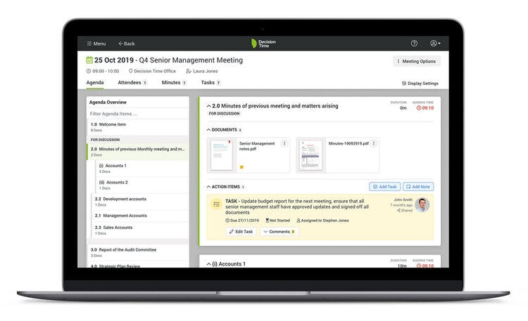 Decision Time Goals Software - Decision Time Meetings board portal screenshot