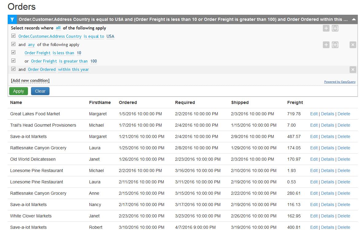 Data Grid Filtering