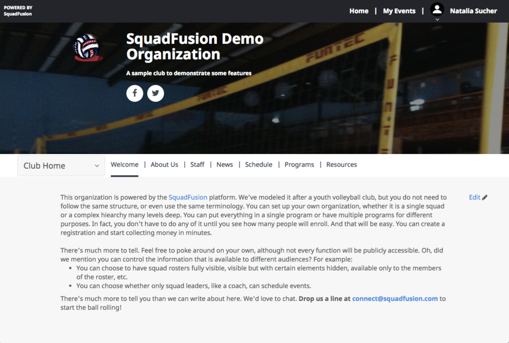 SquadFusion allows users to create custom club websites