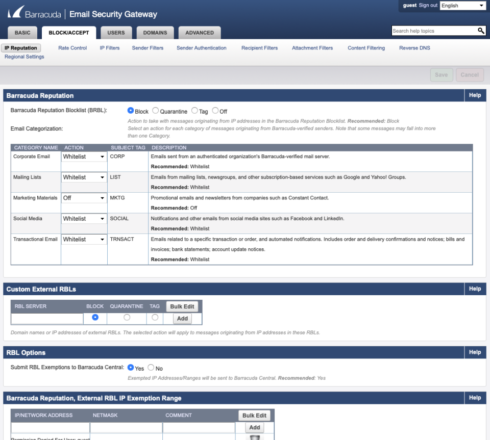 Barracuda Email Security Gateway blocklist emails