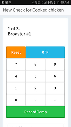 During checks users can input measurements using the number pad