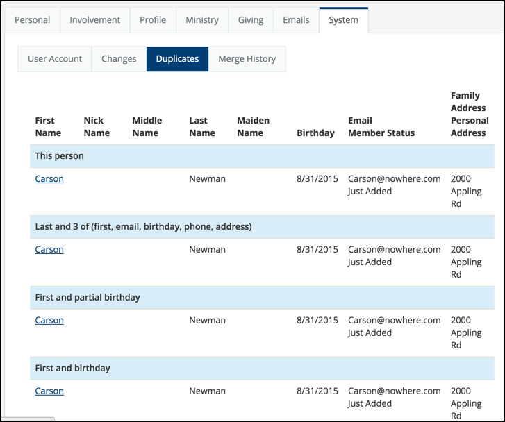 Users can find and merge duplicate member profiles in TouchPoint