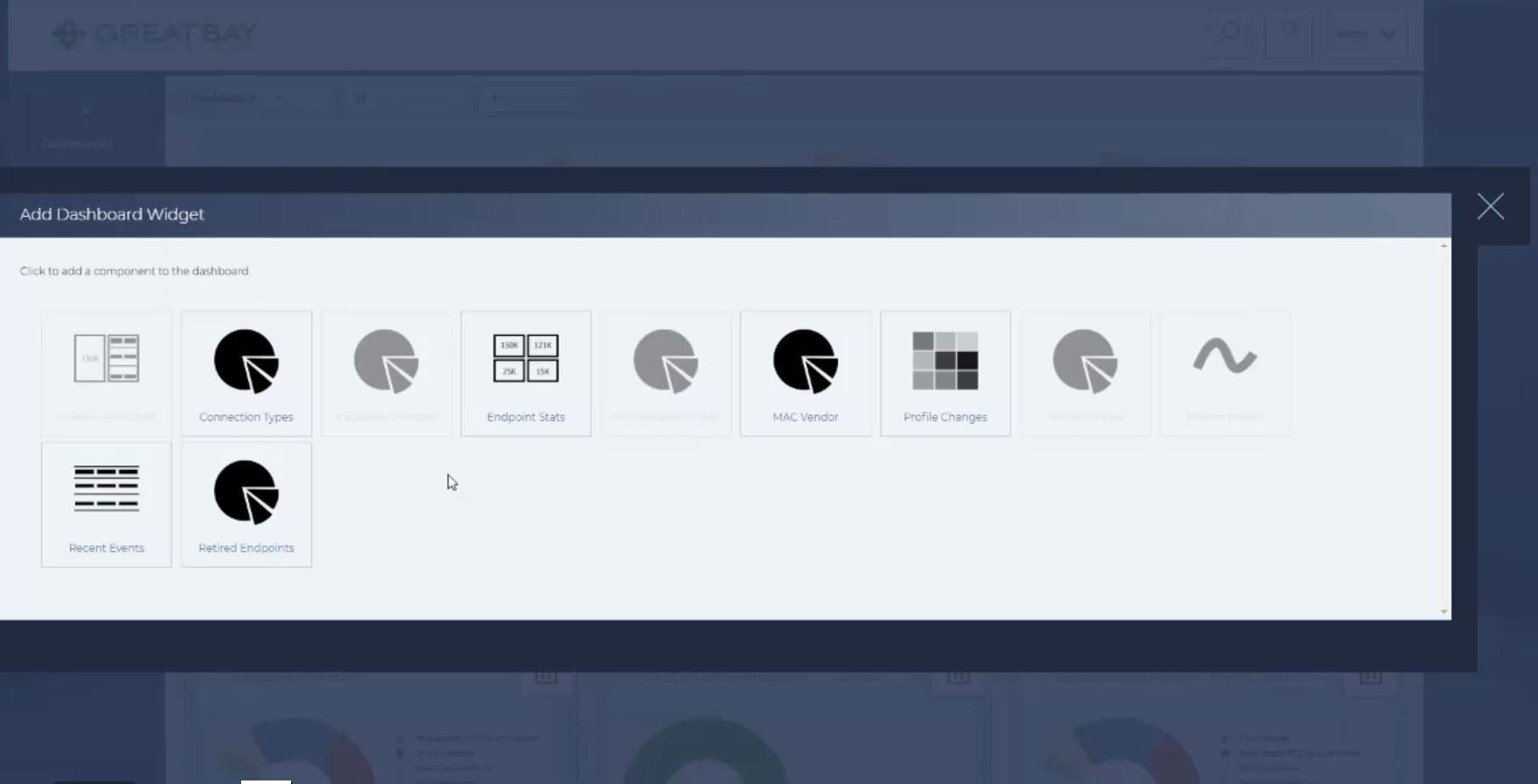 The Great Bay Network Intelligence Platform adding dashboard widgets