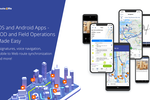 Route4Me screenshot: Over 2 Million Downloads. Available on iPhone, iPad, and Android devices. E-signatures, Barcode Scanner, Gps Navigation with voice guided turn-by-turn directions, Mobile to Web route synchronization, and so much more!