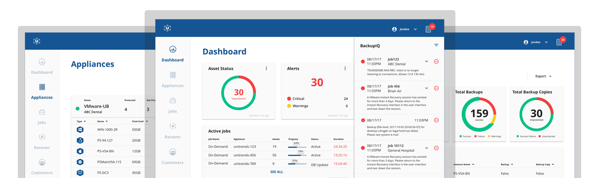 The Unitrends MSP dashboard