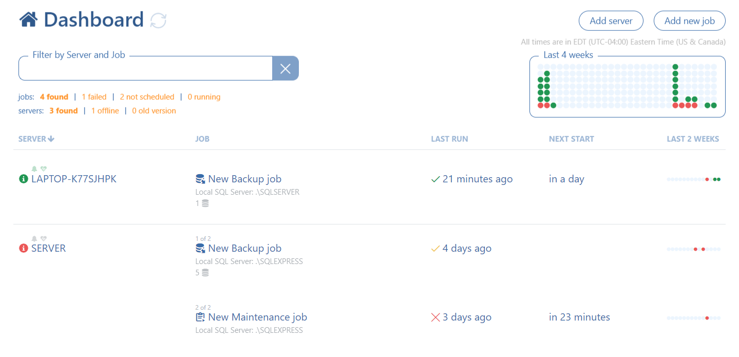 Via Dashboard can be set backup and/or maintenance jobs. Also, all the jobs from all the connected servers can be managed via that page.