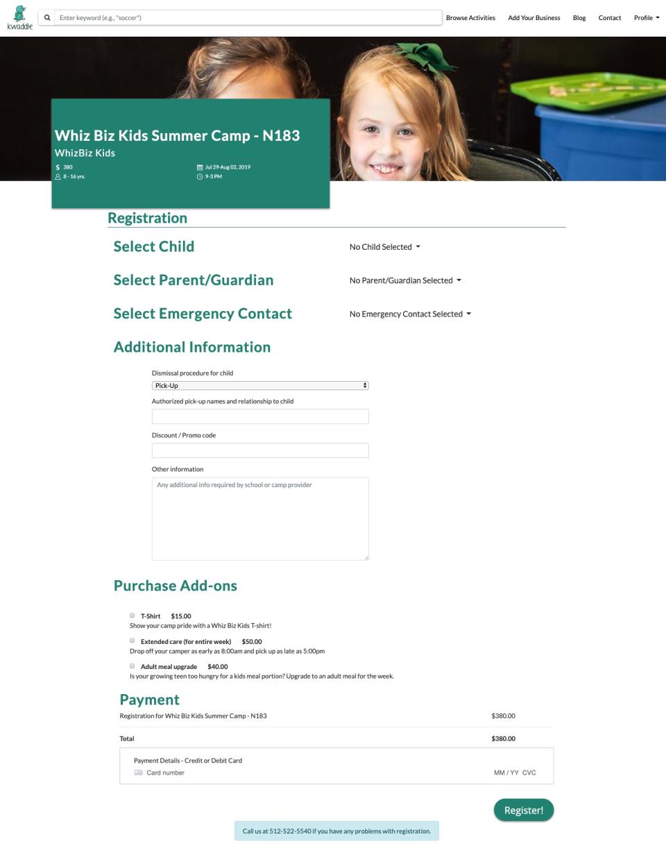 Kwaddle registration page