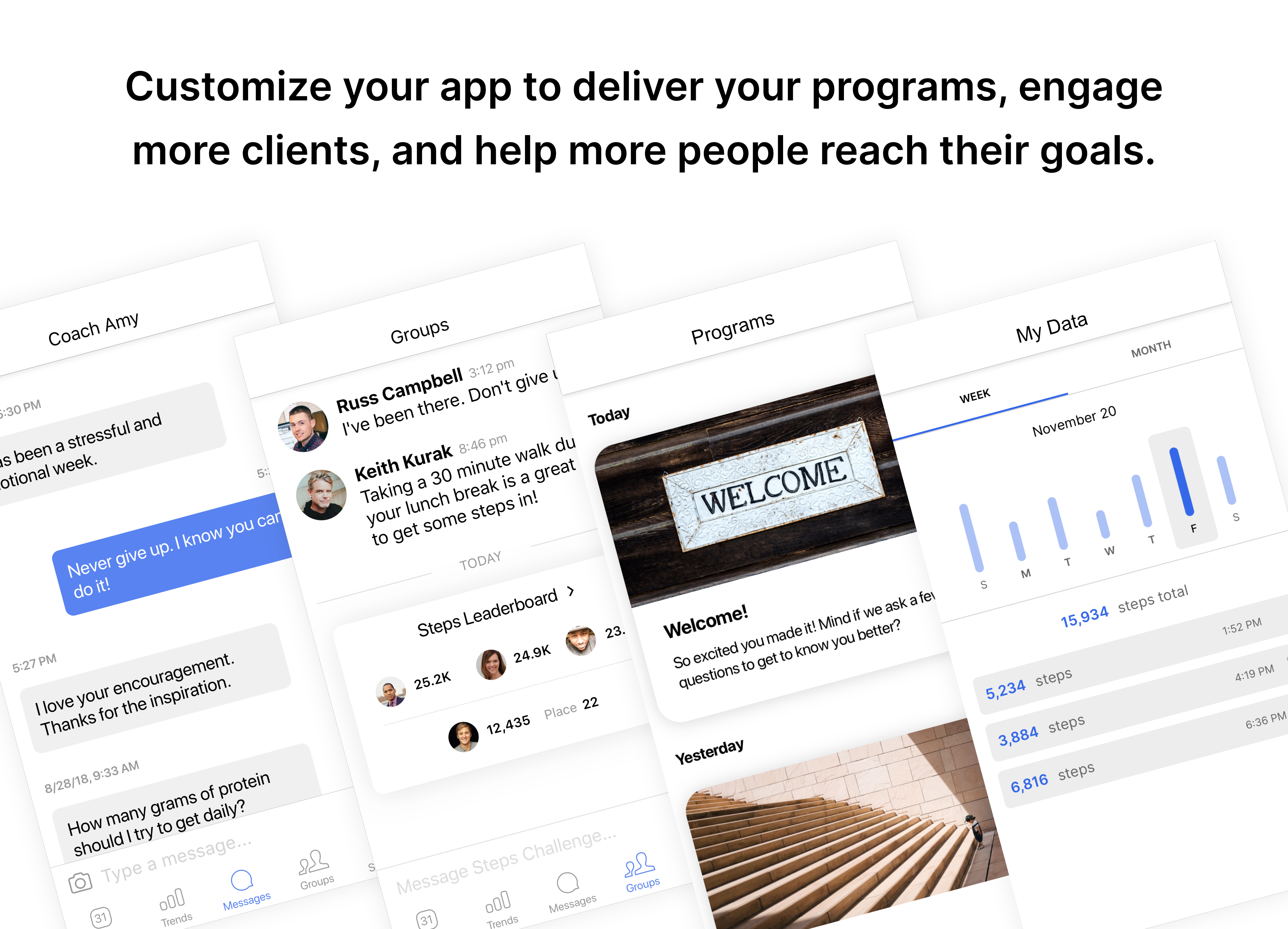 Nudge Coach Software - Customize the mobile app to create beautiful and engaging client experiences.