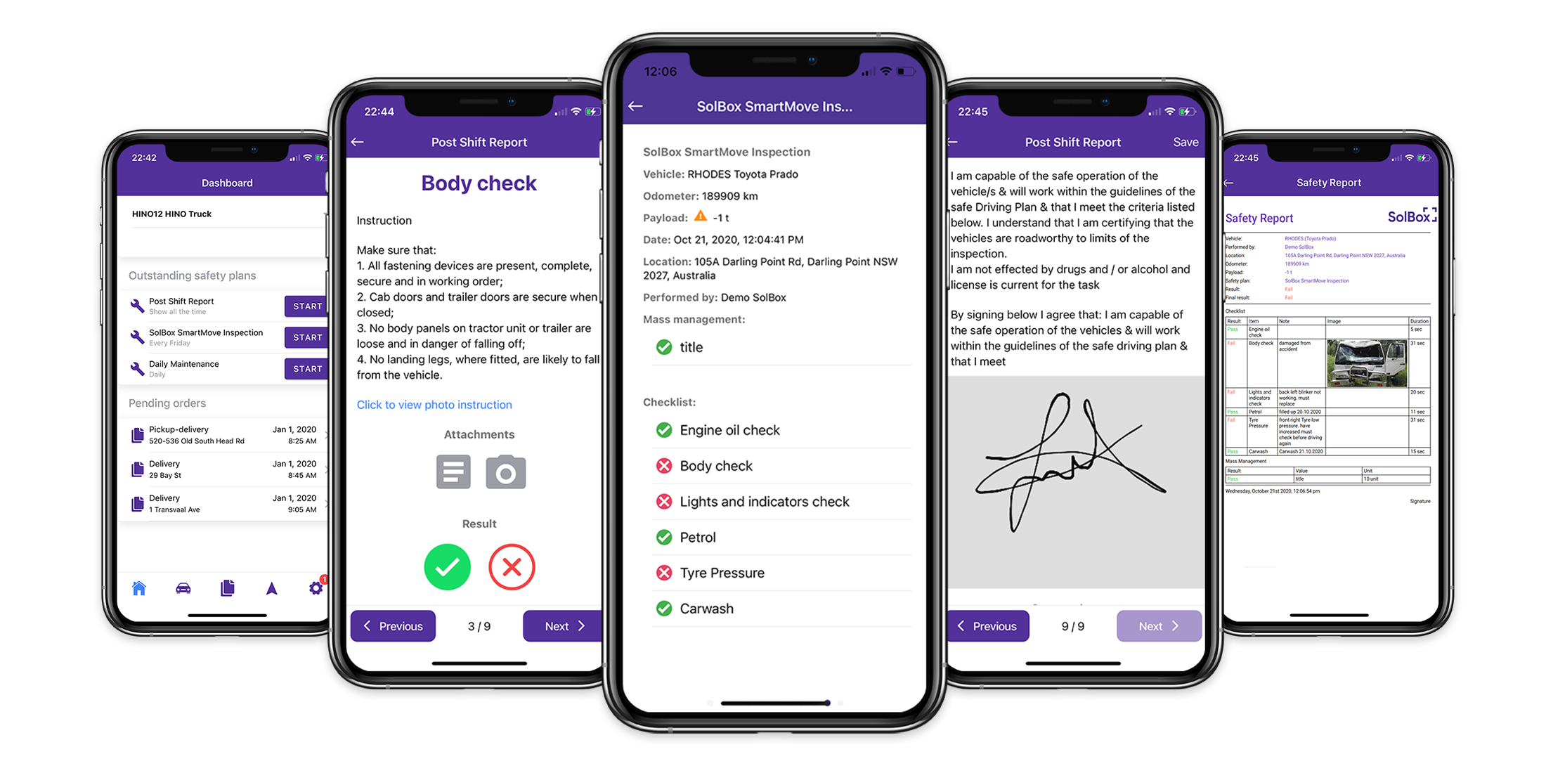 Driver PreStart App  COR, Mass Management, Live fault notifications, Customized Questions, Driver declaration, Photos, Comments, Live GPS Location.