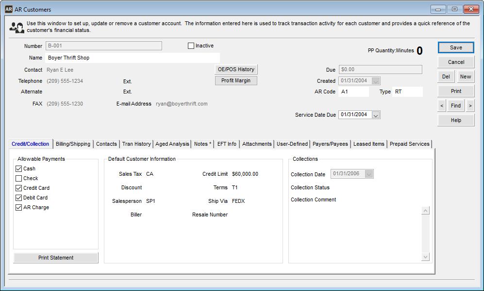 Denali Business Software - AR Customer Maintenance