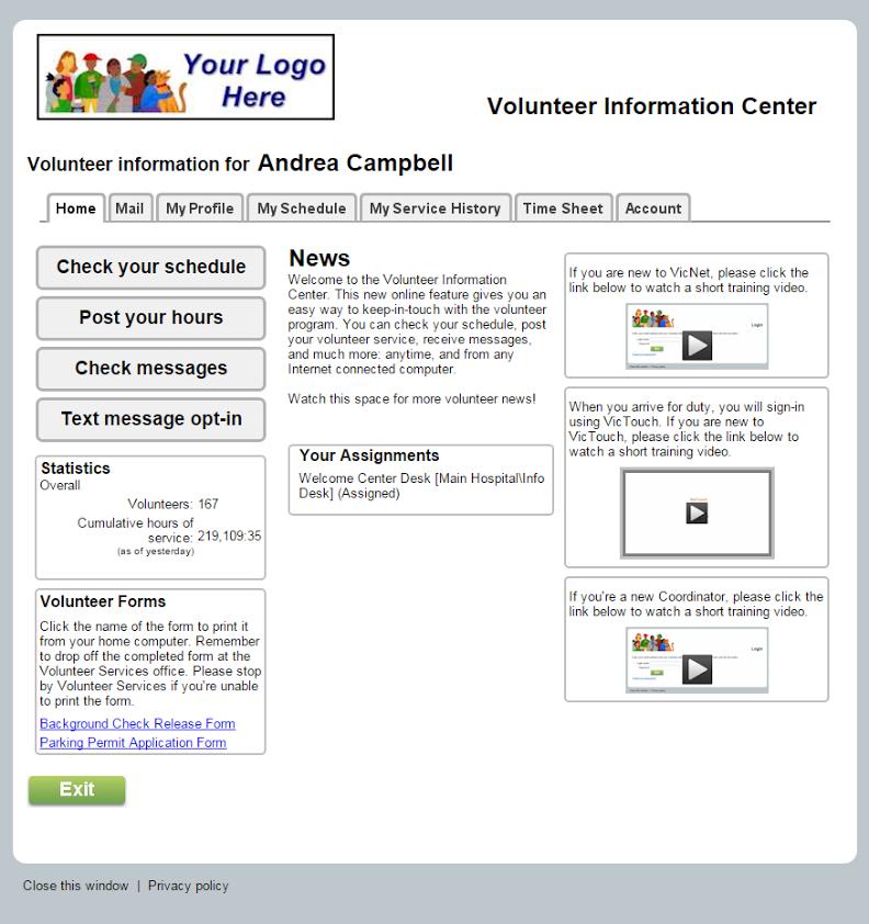Volgistics Volunteer login