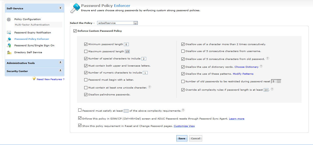 ADSelfService Plus Password policy enforcer