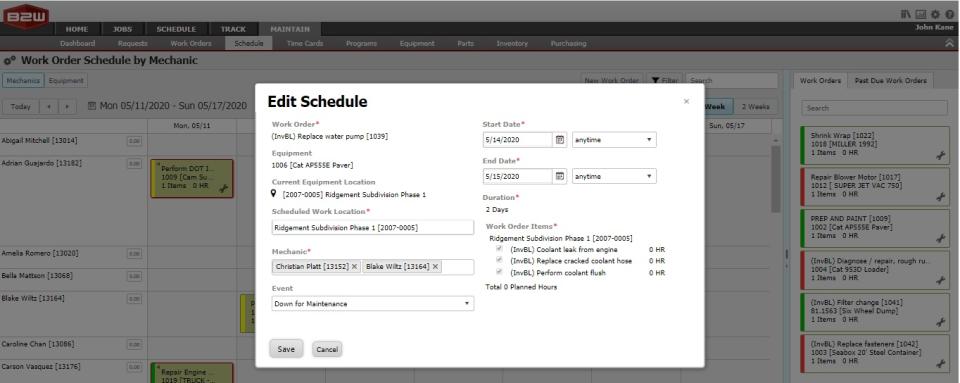 B2W Maintain work order scheduling