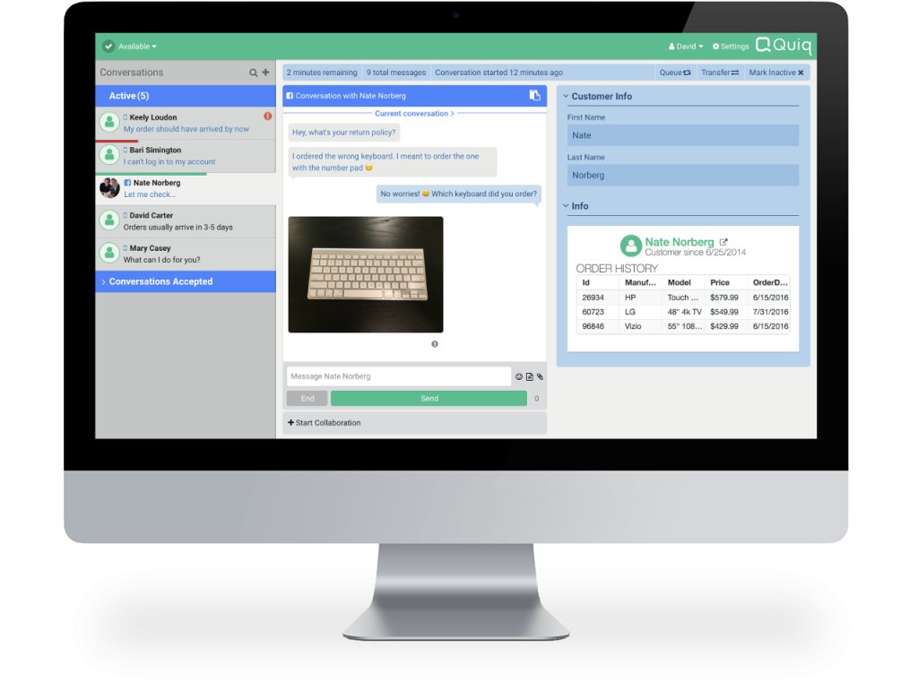 Quiq agent desktop integrates with internal systems, like popular CRMs, to provide customer history and opportunity for up-sell