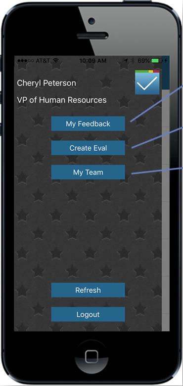 Mobile app main menu