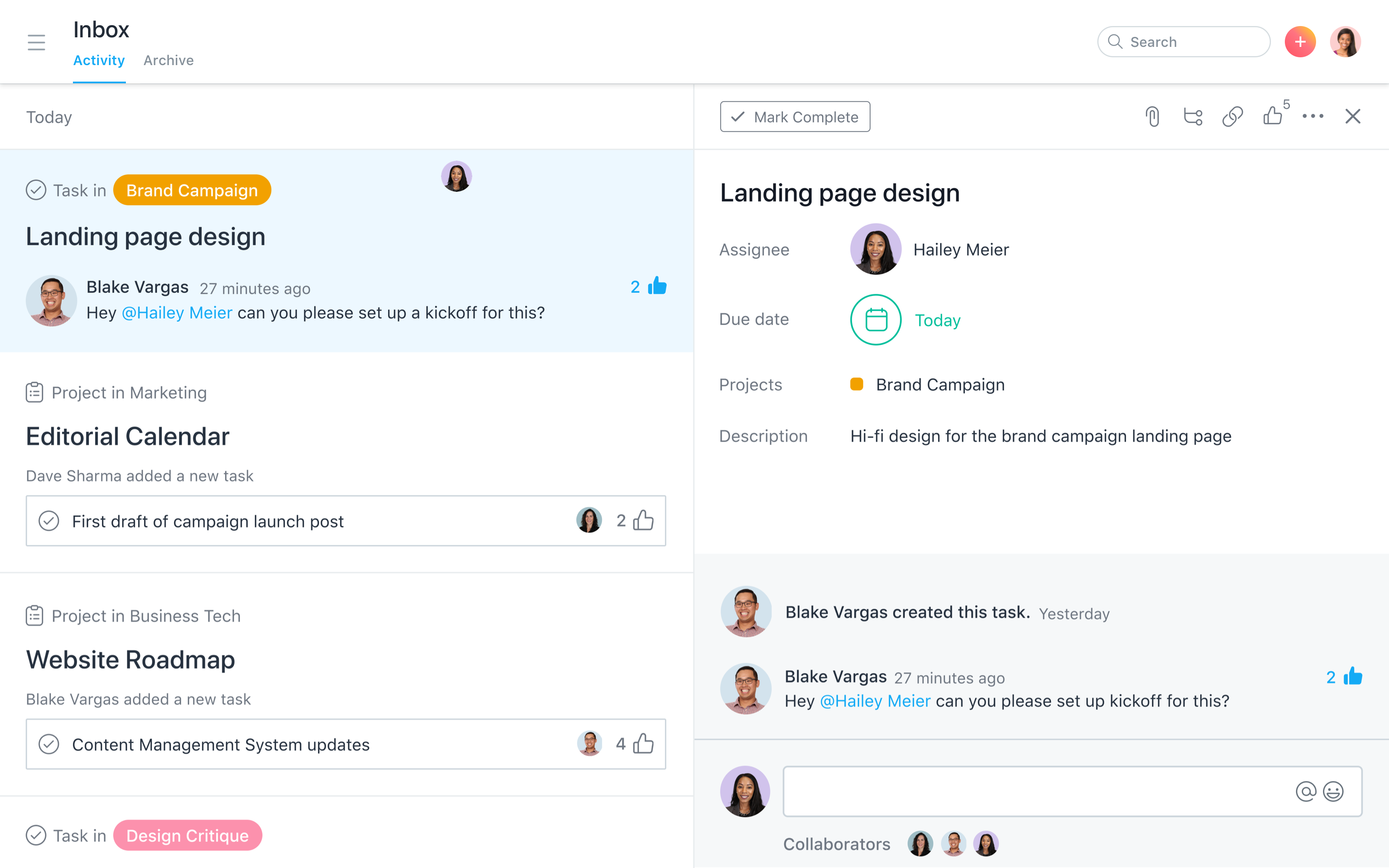 Post status updates, share team-wide announcements, and collaborate on tasks — all in Asana.