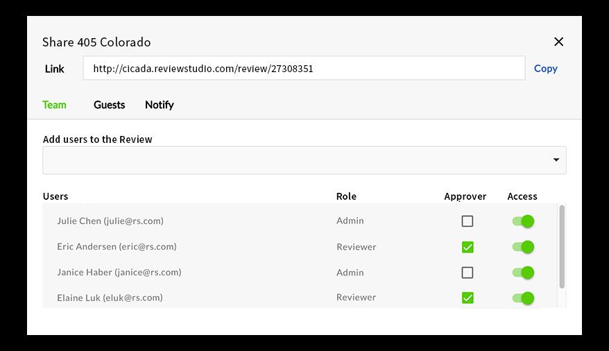 ReviewStudio review sharing
