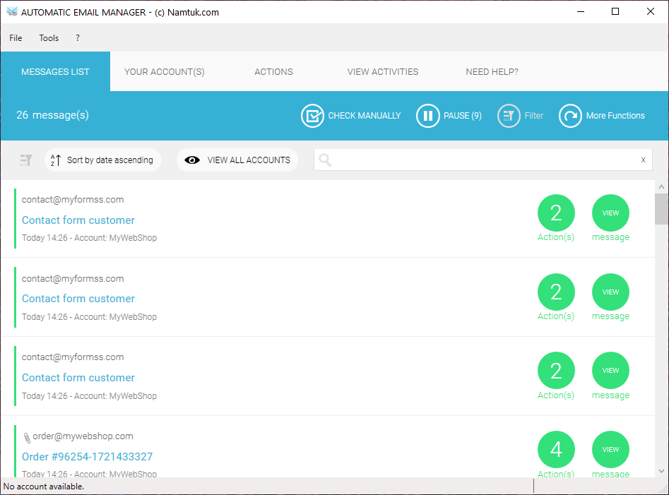 Automatic Email Manager Software - Main user interface