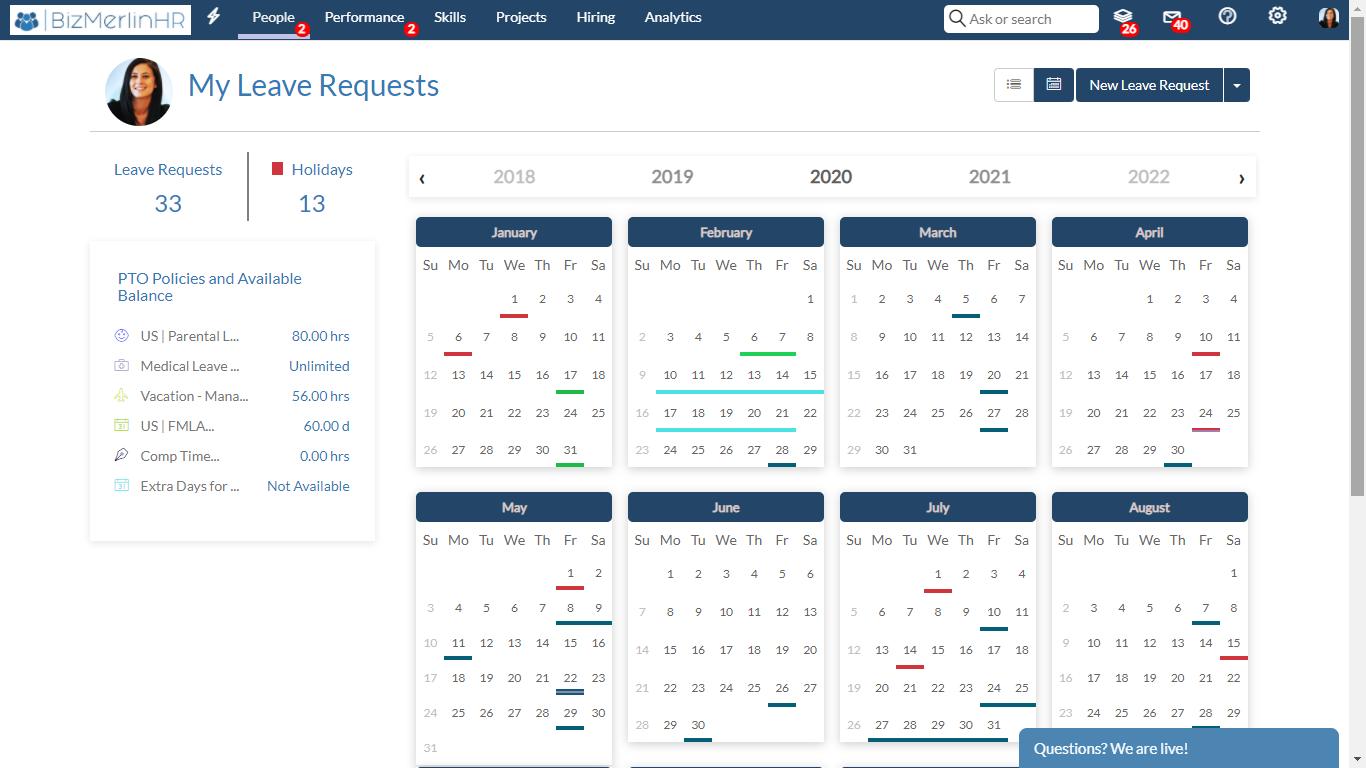 BizMerlinHR Software - PTO/Leave Management