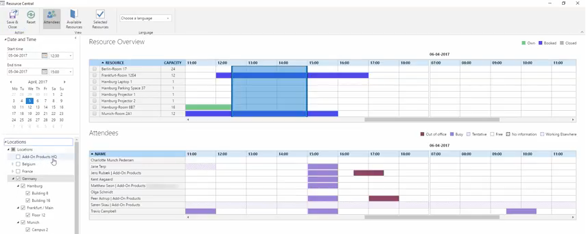 Color-coding tools show users who will or won't attend a meeting at-a-glance, plus the reason why