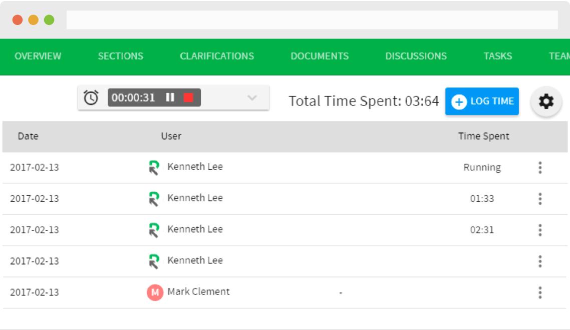 RFPIO Software - Time tracker
