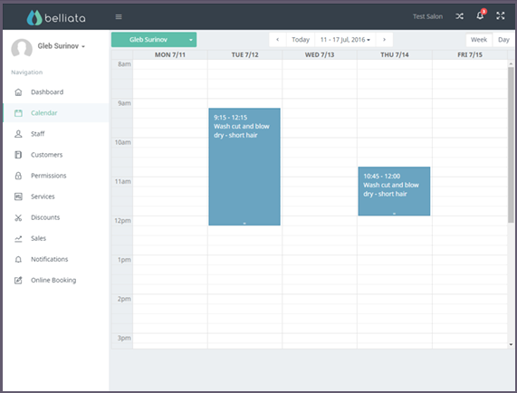 Belliata screenshot: Booking calendar that can be viewed by customers and staff members
