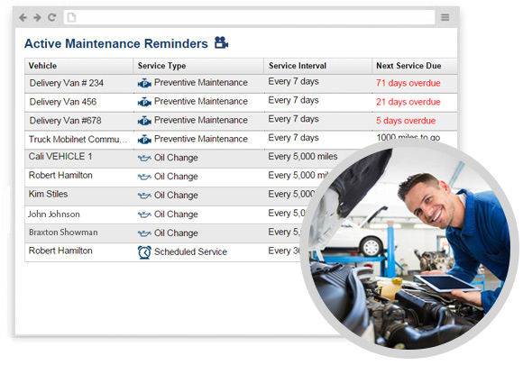 Track maintenance schedules with Linxup's built-in maintenance management system