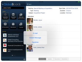 GlobalBoards screenshot: Connect with other board members via video conferencing, text messaging or email