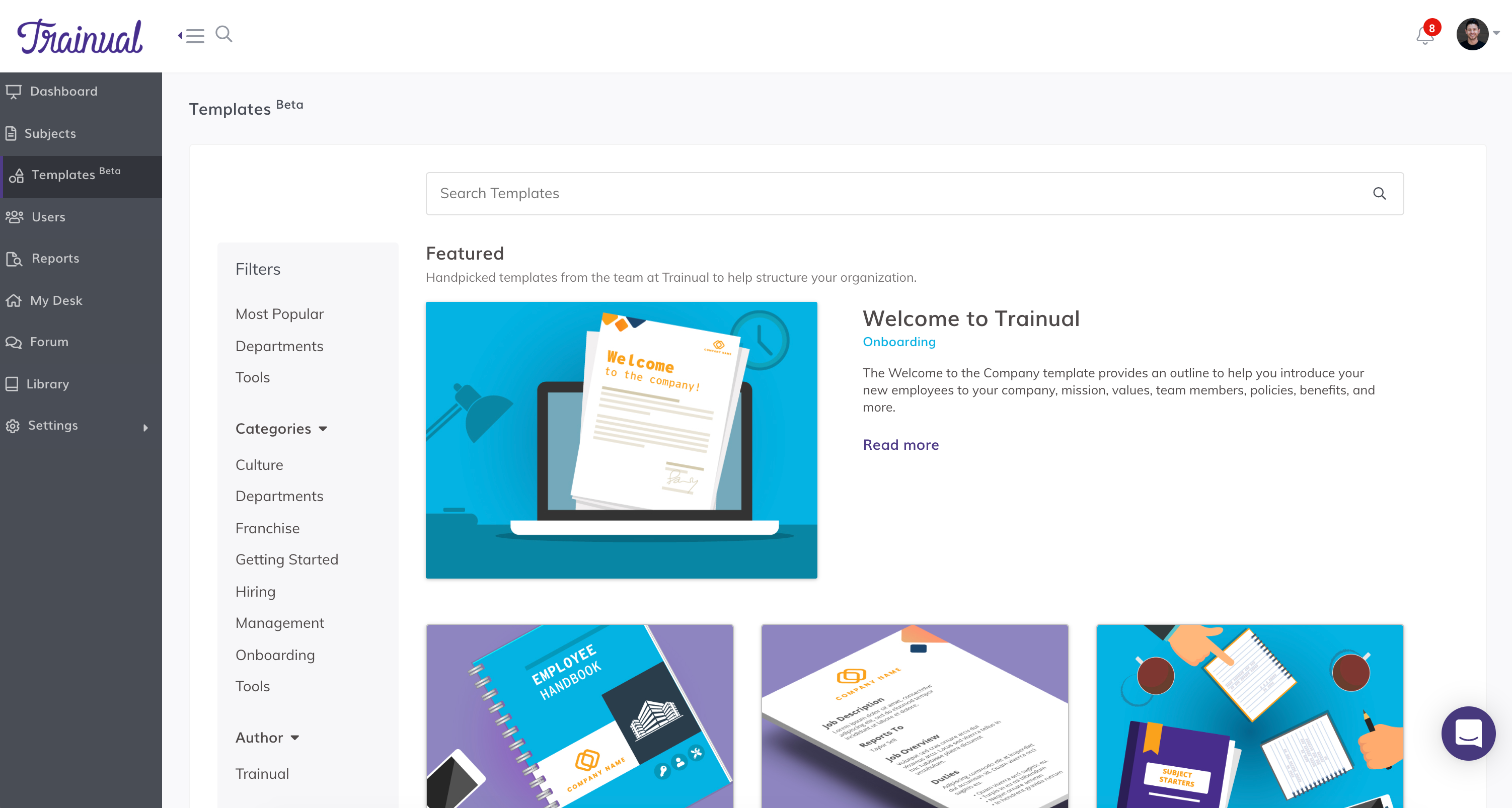 Trainual Software - Trainual built-in templates
