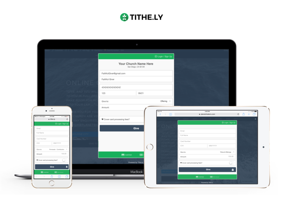 Tithe.ly screenshot: Access Tithe.ly across multiple device types