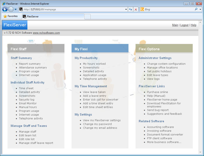 Flexi main interface