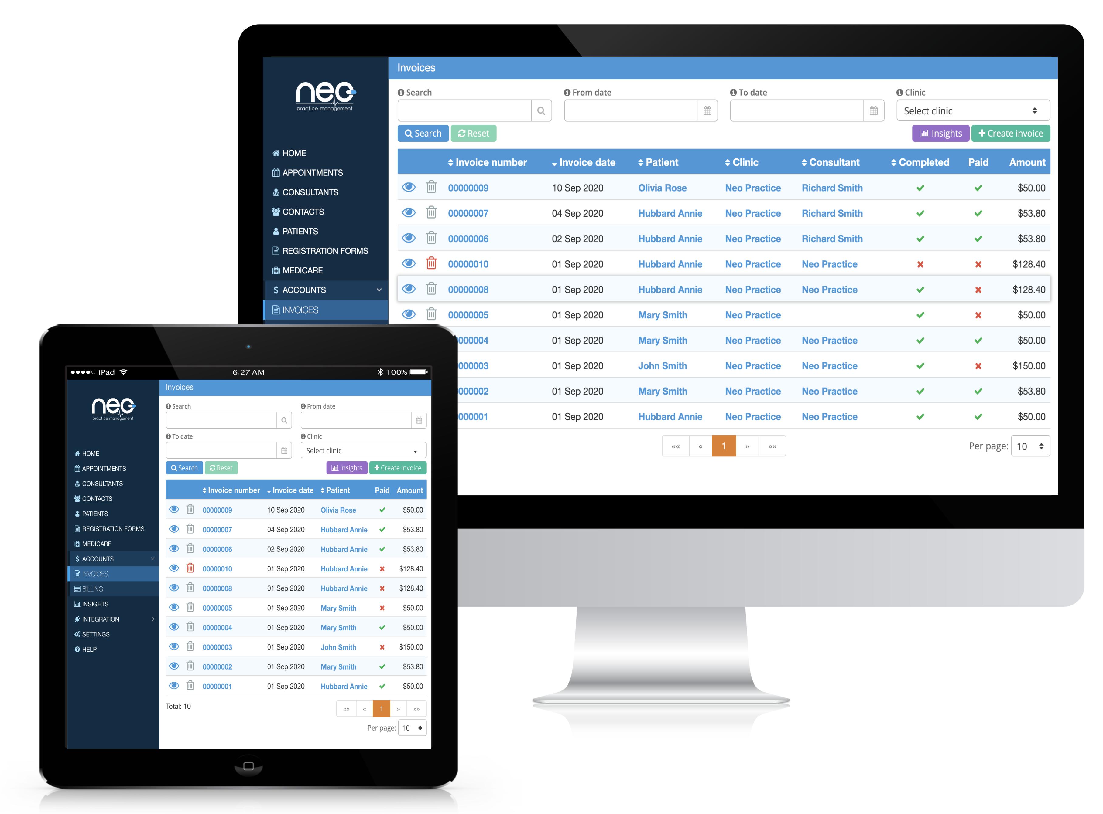 NEO managing invoices