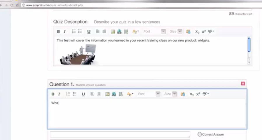 ProProfs Training Maker Software - Quiz designing