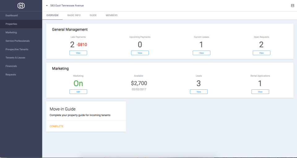 Hemlane screenshot: Manage current rentals and keep track of payments with integrated finance features