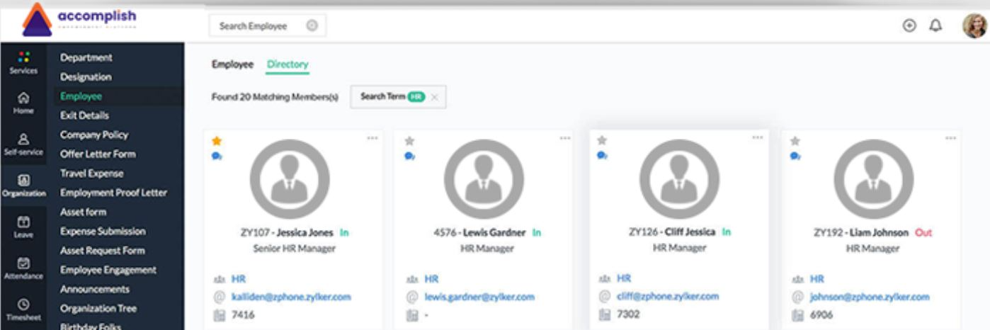 Accomplish screenshot: Accomplish employee directory