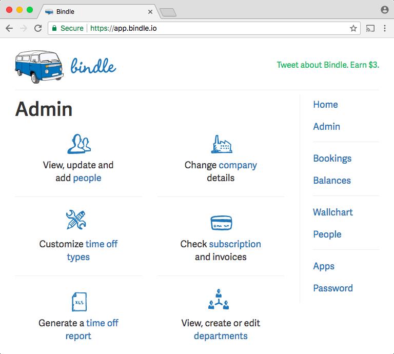 Bindle admin screenshot