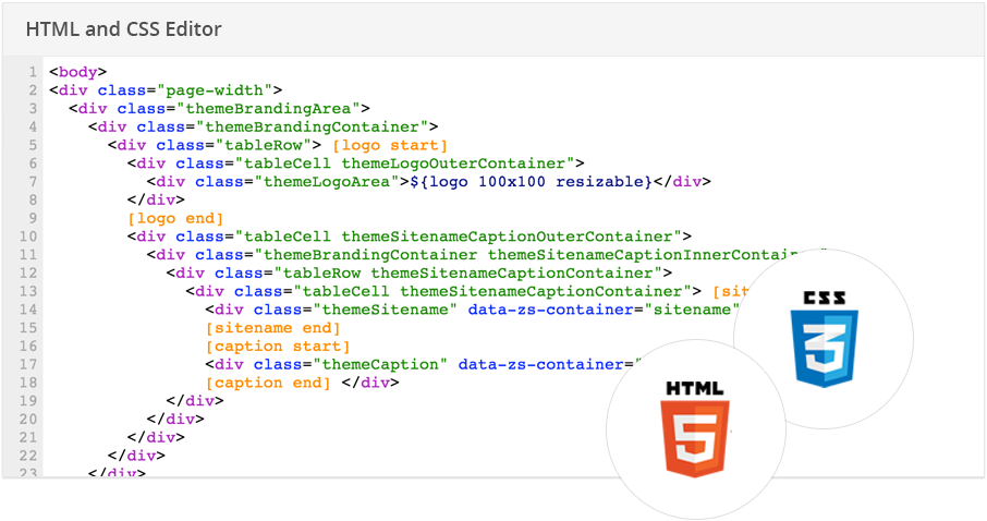 An advanced HTML / CSS editor is included in Zoho Sites