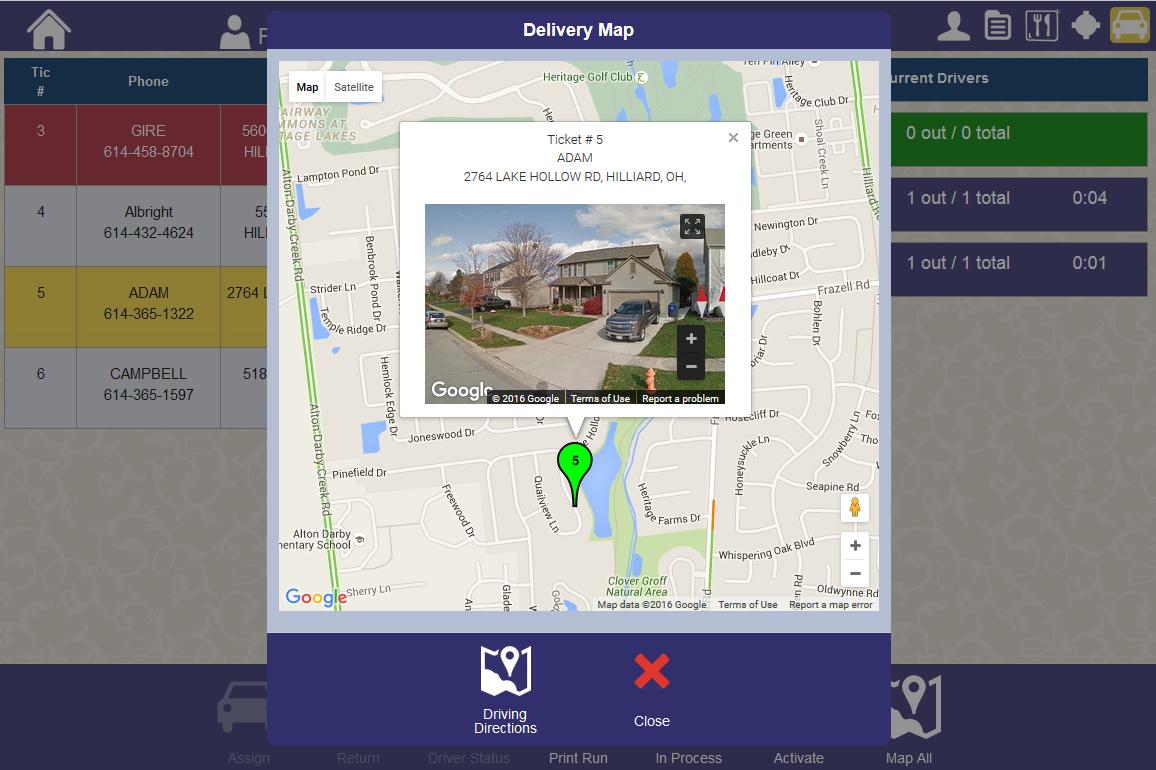 Delivery screen