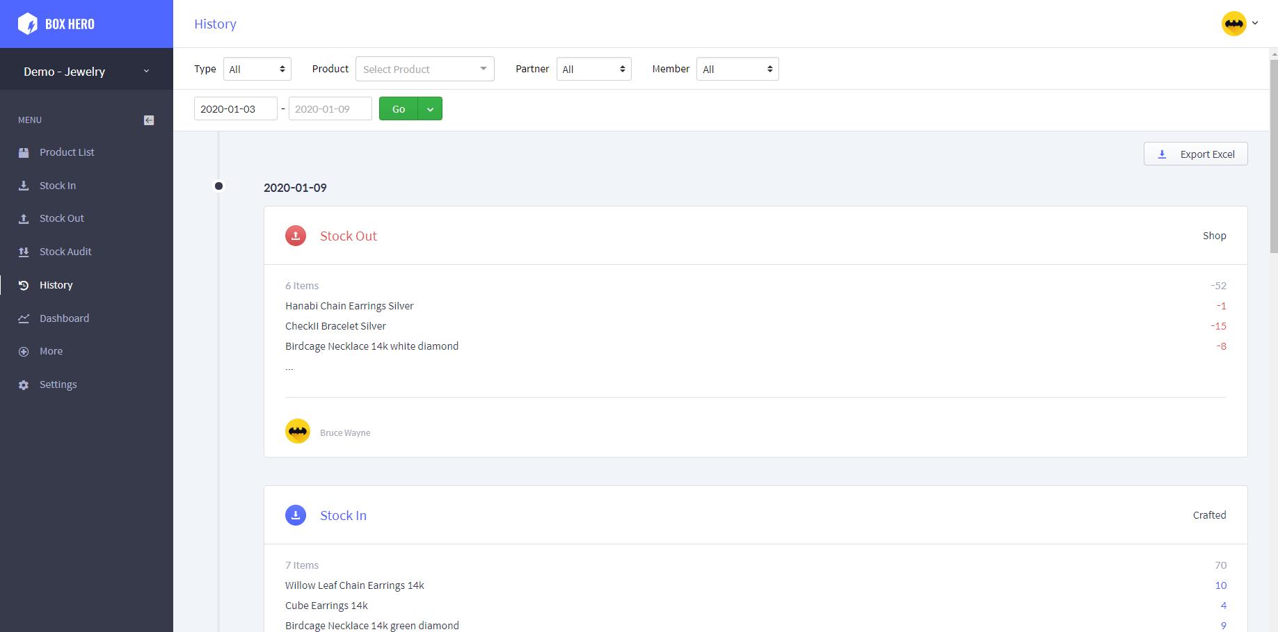 BoxHero inventory history screenshot