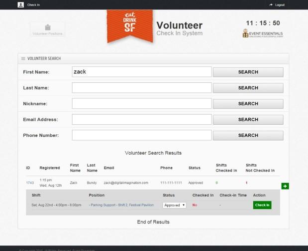 Volunteer  check-in management.