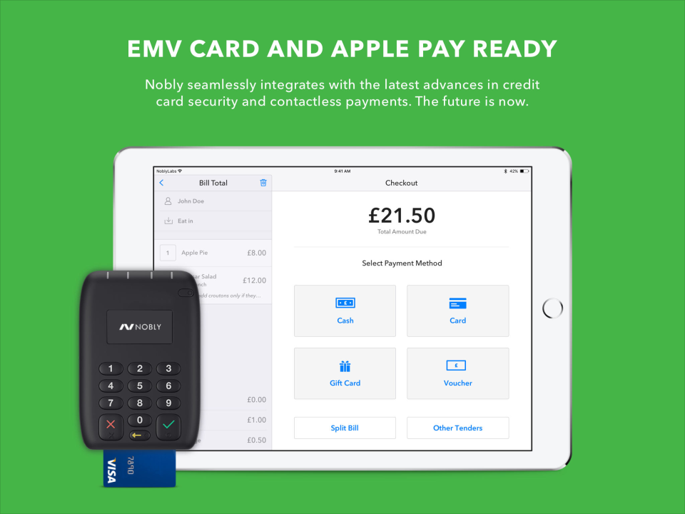 Nobly POS accepts a range of payment types including Apply pay and EMV cards