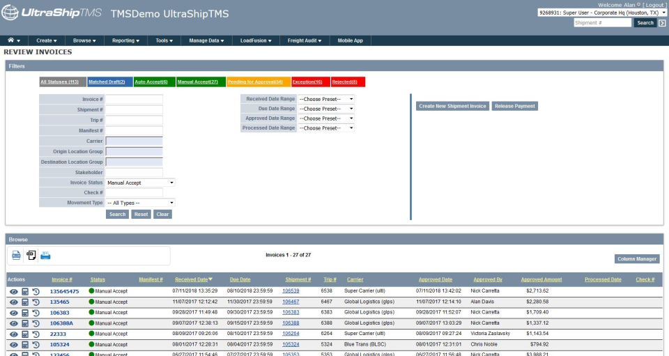 Browse through invoices and filter by status, received date, carrier, trip number, and more