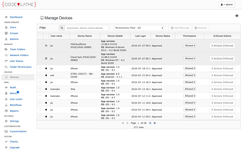 FileCloud admin device management